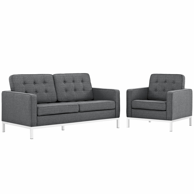 Loft Modern 2pc Upholstered Button-tufted Loveseat & Armchair Set, Gray
