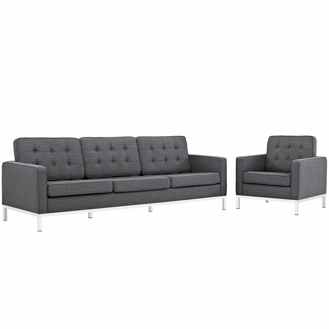 Loft Modern 2pc Upholstered Button-tufted Sofa & Armchair Set, Gray
