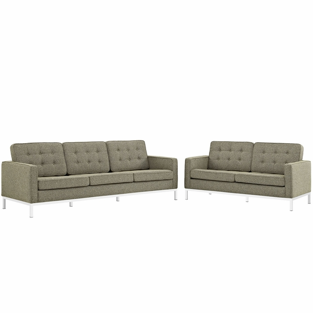 Mid-Century Modern Loft 2pc Button-Tufted Sofa & Loveseat Set, Oatmeal