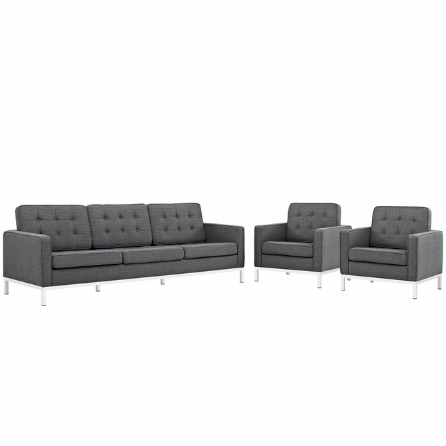 Mid-Century Modern Loft 3-pc Button-Tufted Sofa & Armchairs Set, Gray