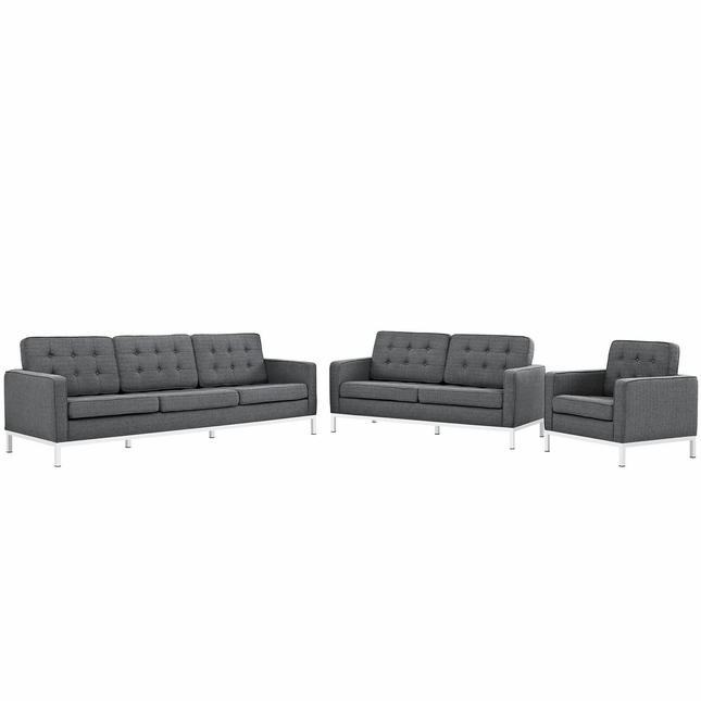 Mid-Century Modern Loft 3pc Button-Tufted Living Room Set, Gray