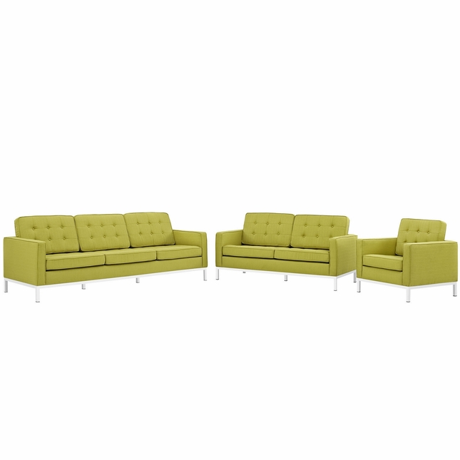 Mid-Century Modern Loft 3pc Button-Tufted Living Room Set, Wheatgrass