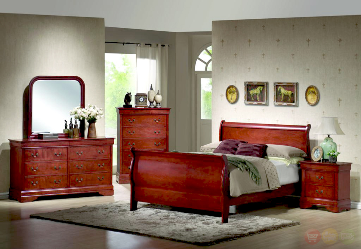 Nice Louis Philippe Cherry Sleigh Bed Traditional Bedroom Furniture Set