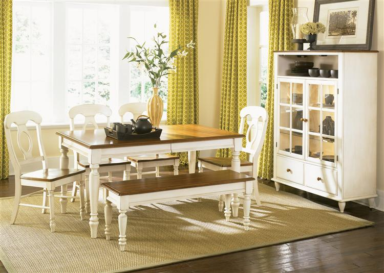 Low Country Cottage Style White Wood Dining Room Furniture Set