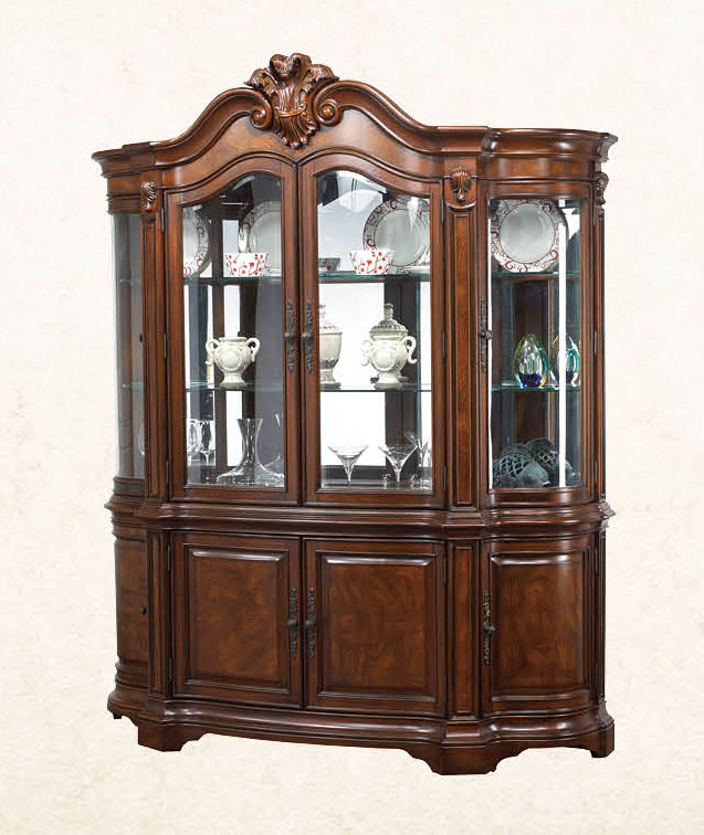 Dining Room Set With Hutch: Luciano Traditional Medium Wood Formal Dining Set With