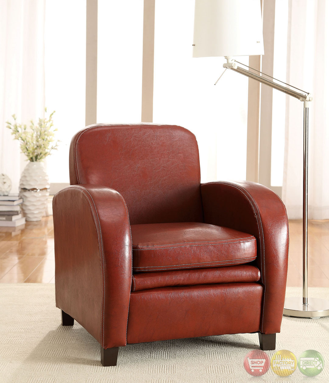 Lugano Mahogany Red Accent Chair With Double Padded Leatherette Seat CM AC6590RD