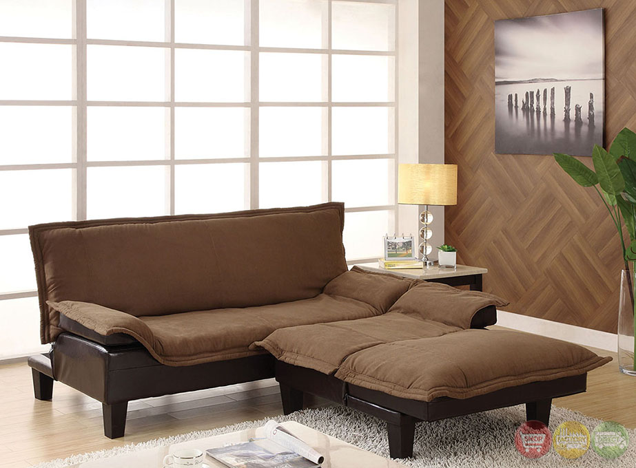 cappucino and espresso futon sofa set with removable cover cm6513. Black Bedroom Furniture Sets. Home Design Ideas