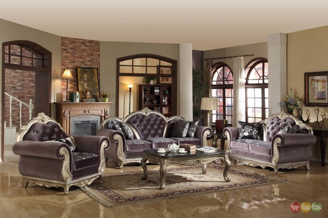 crystal tufted dark gray velvet platinum living room furniture set