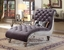 Luxurious Crystal Tufted Dark Gray Velvet & Platinum Living Room Furniture Set