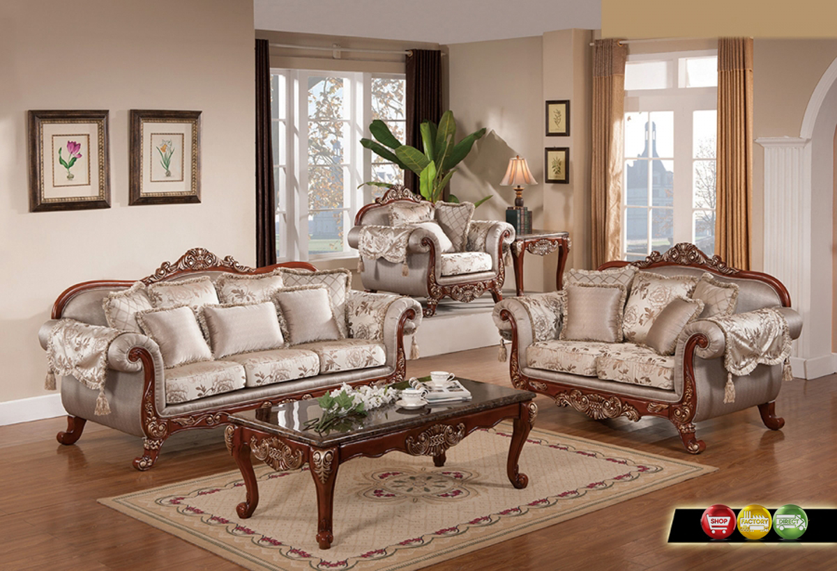 luxurious traditional formal living room furniture exposed carved wood