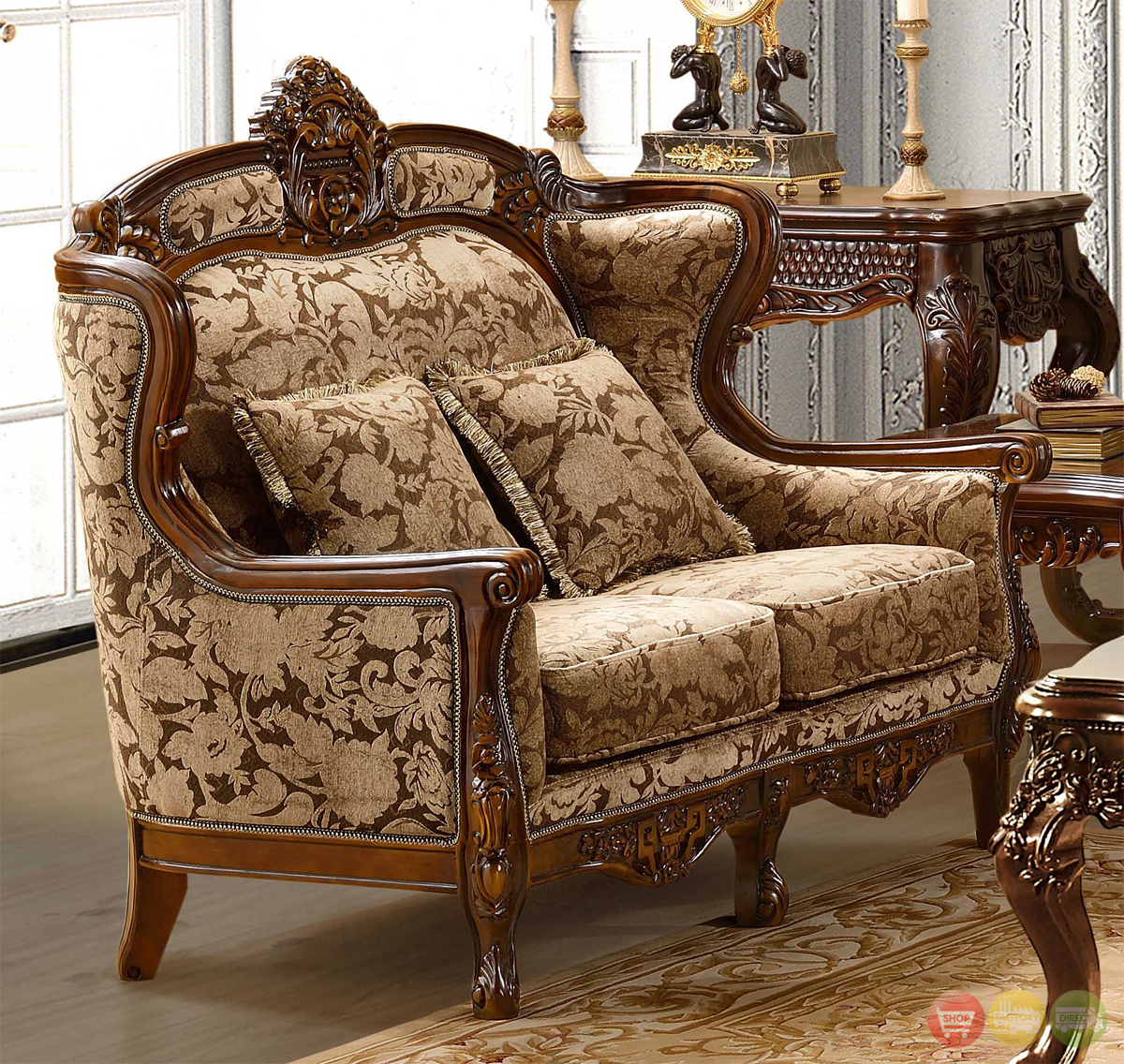 Living Room Furniture: Luxurious Chenille Sofa And Loveseat Set HD-839