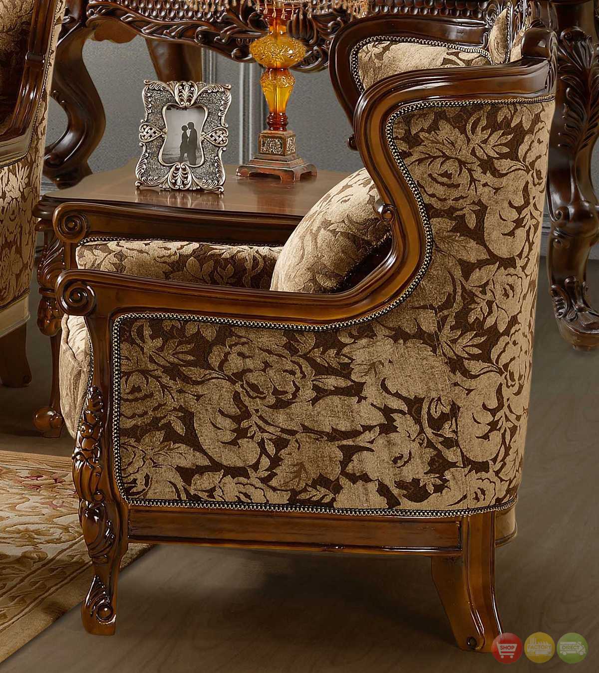 Formal Room Furniture: Luxurious Chenille Sofa And Loveseat Set HD-839