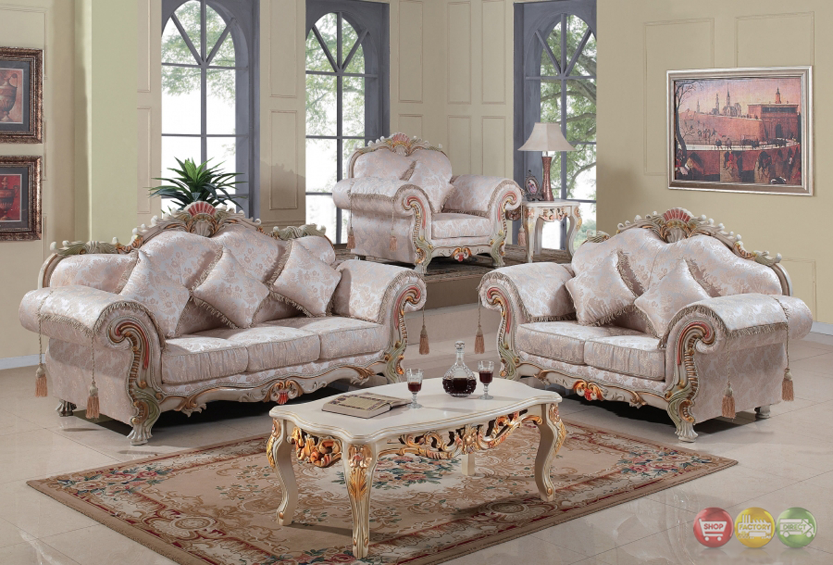 ... Traditional Victorian Formal Living Room Set Antique White Carved Wood