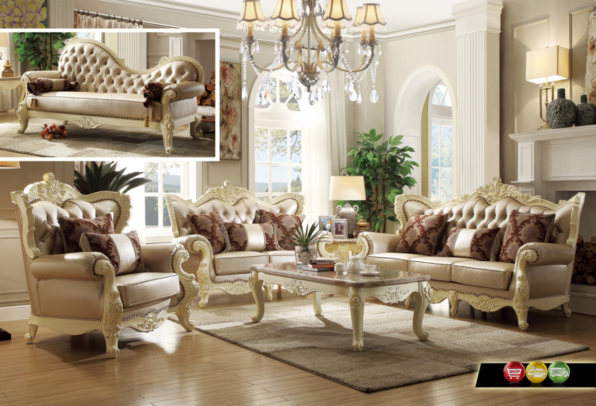 Traditional Living Room Set w Pearl Bonded Leather and