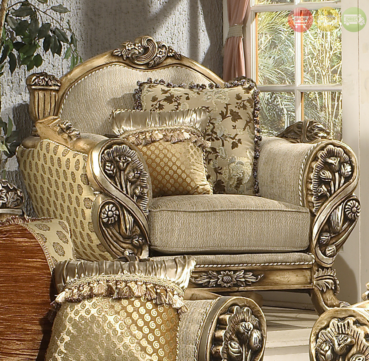 Luxury Traditional Living Room Upholstery Set W/Carved