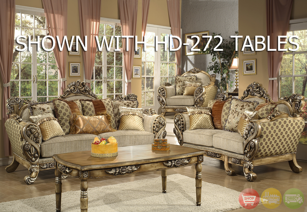 Luxury Traditional Living Room Upholstery Set With Carved Wood Details