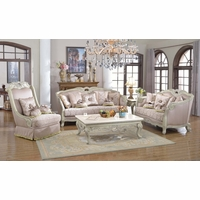 Luxury Traditional Sofa Set Antique White Exposed Wood w/ Elaborate Carvings
