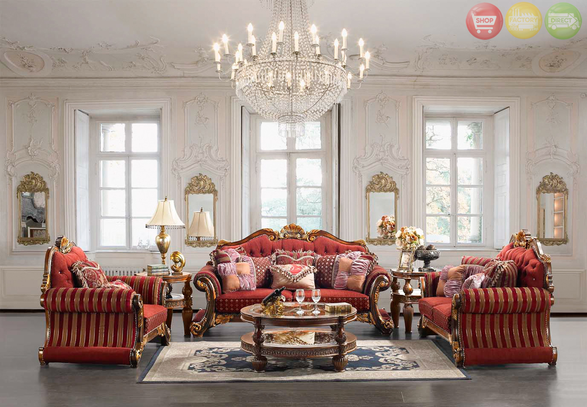 Luxury Upholstered Formal Living Room Furniture Traditional Sofa Love