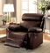 Lyndon Casual Brown Glider Reclining Chair In Real Top Grain Leather