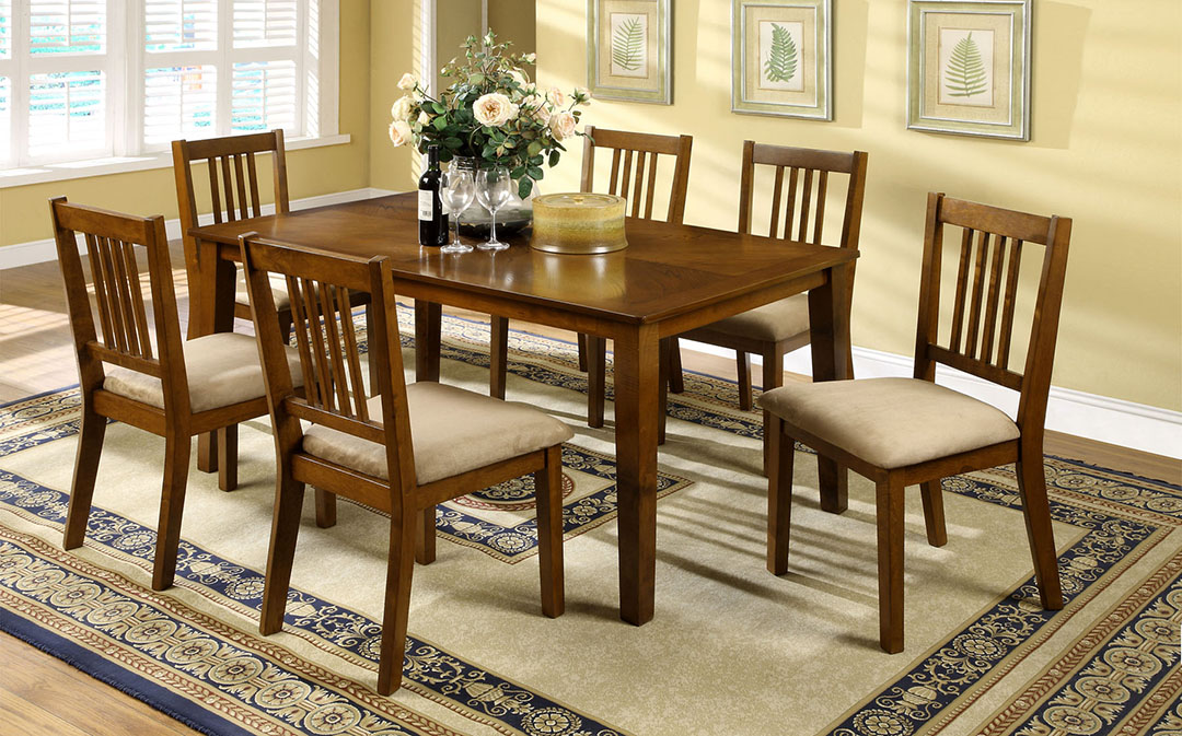 Mackay Transitional Dark Oak Casual Dining Set with Padded Fabric Seat ...