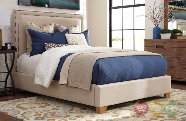Madeleine II Beige Upholstered King Bed With Nailhead Trim