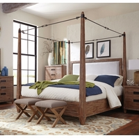 Madeleine Smoky Solid Acacia Queen Turnbuckle Canopy Bed