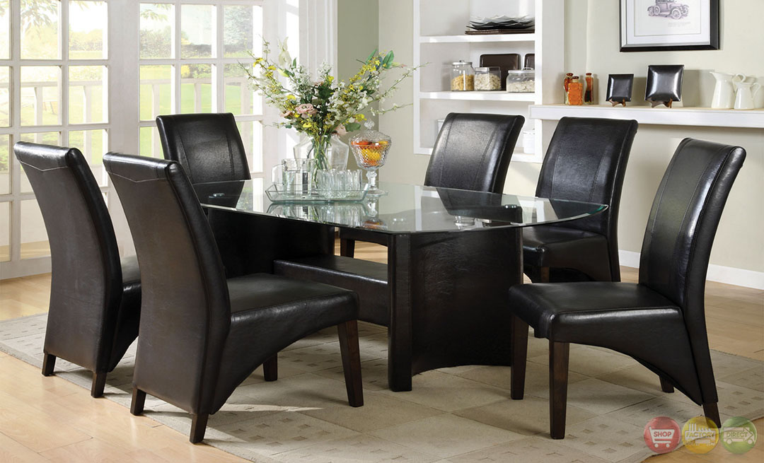 Espresso Casual Dining Set With Half Moon Table Legs CM3578