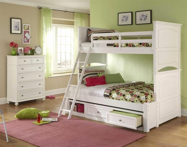 Madison Natural White Painted Twin over Full Bunk Bed