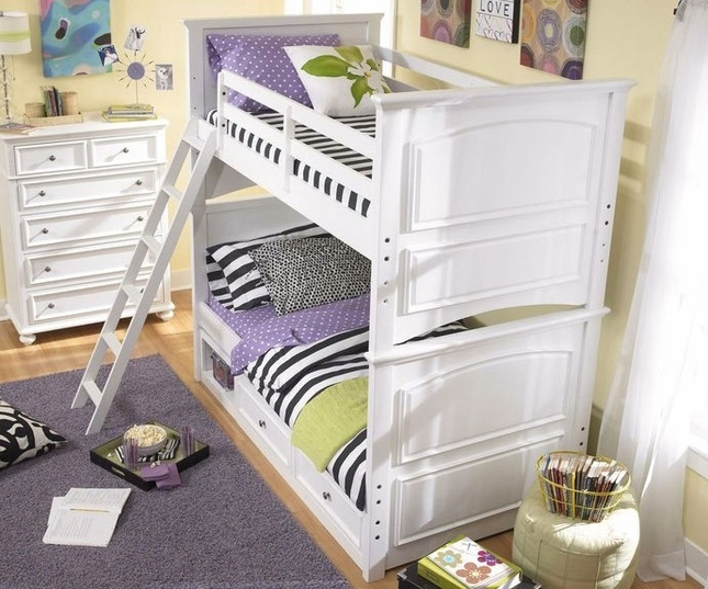 Madison Natural White Painted Twin over Twin Bunk Bed