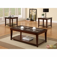 Maine Contemporary Cherry Accent Tables with Faux Marble Inserts CM4005