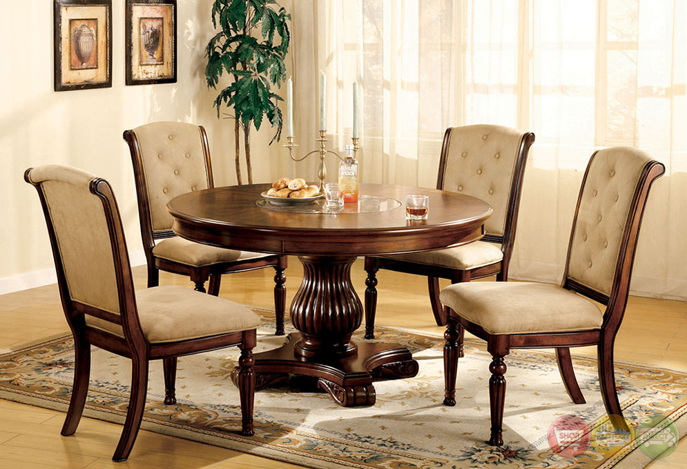 Majesta I Elegant Dark Walnut Casual Dining Set with Built-in Marble ...