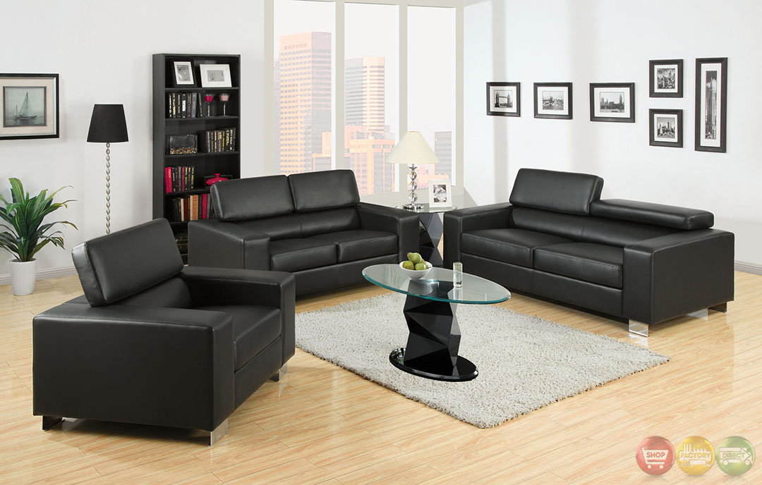 makri contemporary black living room set with bonded leather match