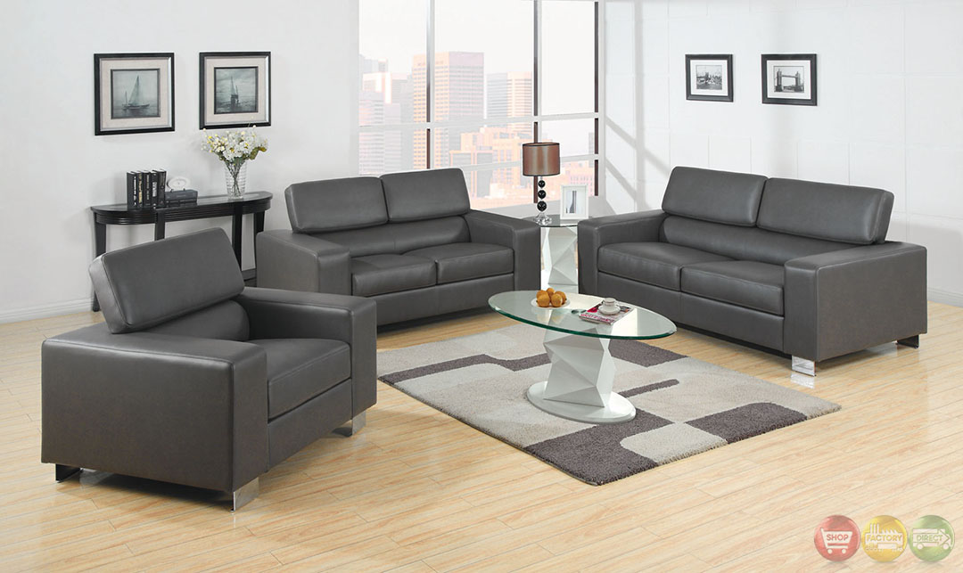 makri contemporary gray living room set with bonded leather match