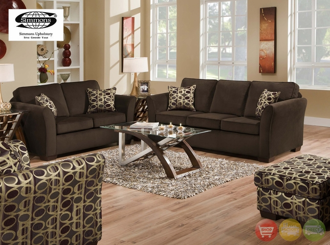Malibu Beluga Sofa & Love Seat Living Room Furniture Simmons 5159SB-5159LB