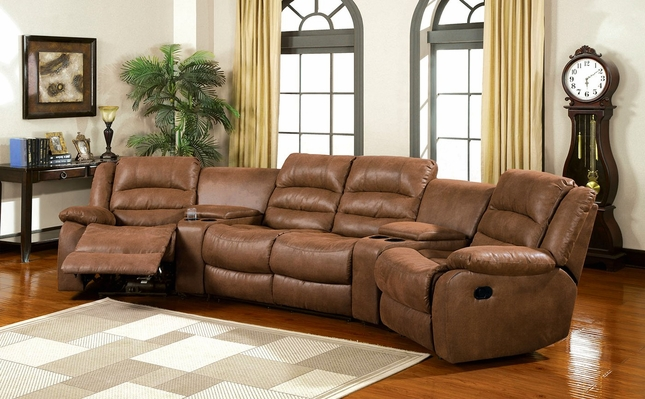 Manchester Caramel Faux Leather Sectional Sofa Set, Cup Holders, Storage