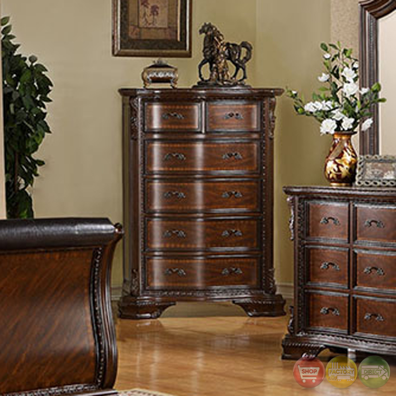 Hand Carved Bedroom Furniture : ... Brown Cherry Sleigh Bedroom Set with Hand-Carved Accents CM7270
