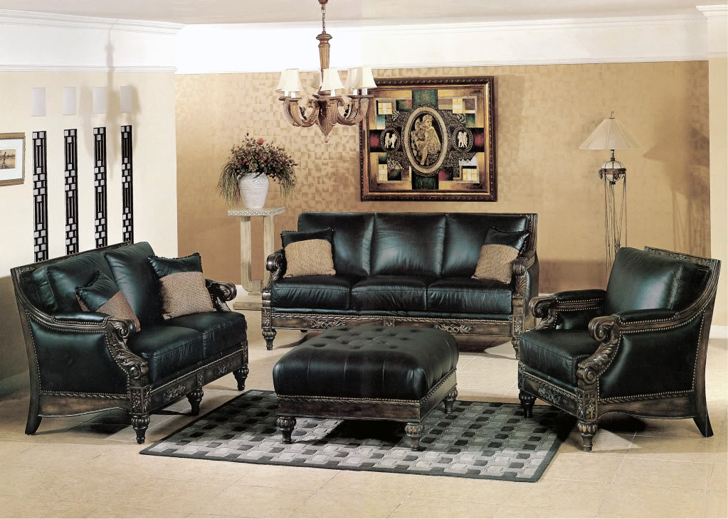 living room furniture sets home interior design black bonded leather