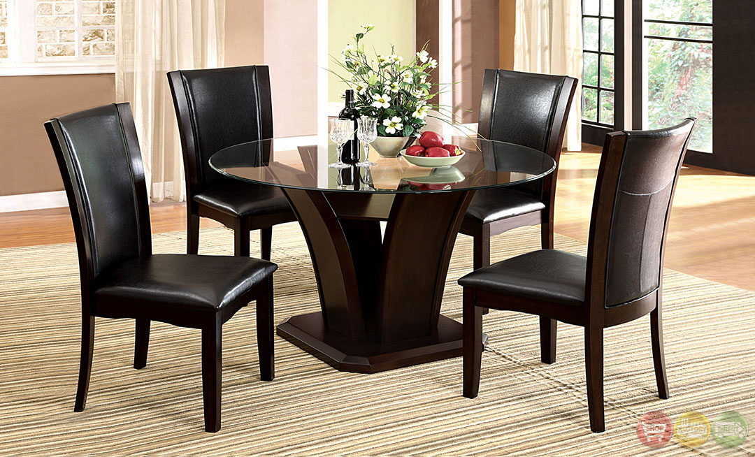 Manhattan II Contemporary Dark Cherry Casual Dining Set With Padded
