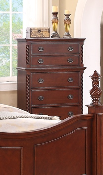 Manor Classic 5-Drawer Chest In Deep Cherry Finish