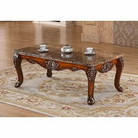 Marbella Victorian Rose Marble Coffee Table With Silver Accents
