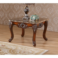 Marbella Victorian Rose Marble End Table With Silver Accents