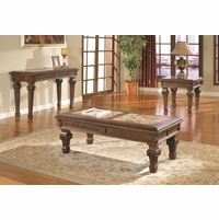 Marble Top Cocktail & End Tables Traditional Living Room 3 Piece Table Set