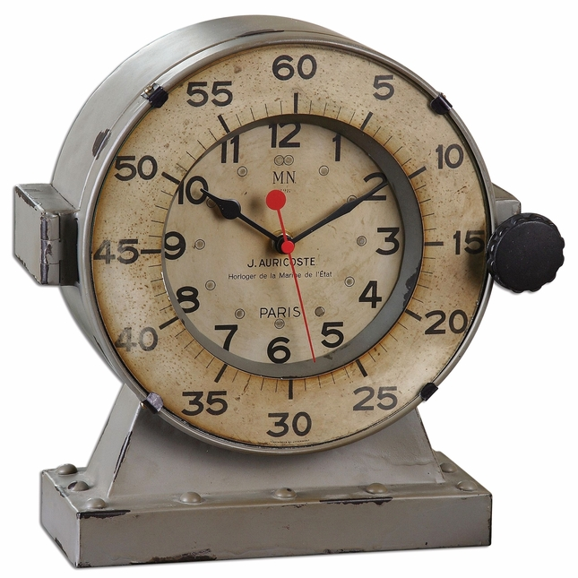 Marine Traditional Distressed Antiqued Gray Table Clock 06096