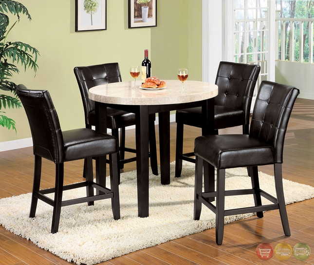 Marion III Contemporary Espresso Counter Height Dining Set