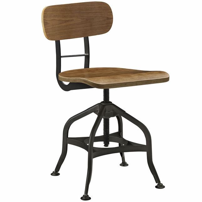 Mark Farmhouse Style Wooden Bar Stool With Steel Base, Brown