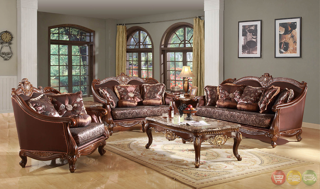 dark wood formal living room sets with carved accents rpcmo85