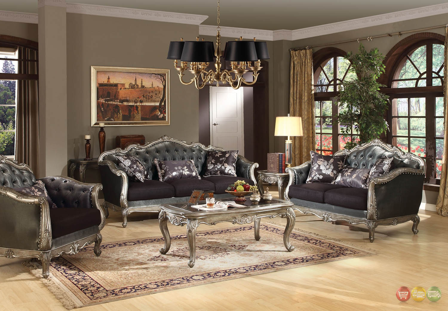 Chantelle French Rococo 5 Pc Formal Living Room Set Carved Wood Accents W Tab