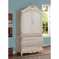 Marquee French Bombe 3-drawer Armoire Pearl White