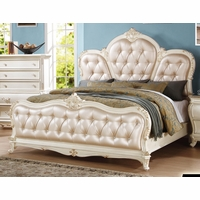 Marquee French Bombe Crystal Tufted Queen Bed Pearl White