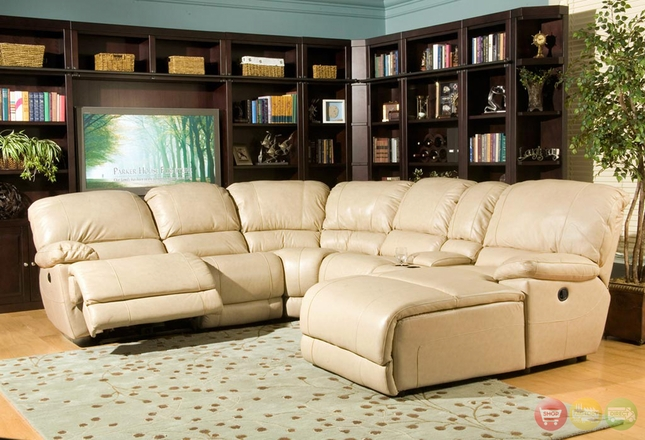 Mars Power Reclining 6pc Leather Motion Sectional Sofa w/ Chaise Parker Living